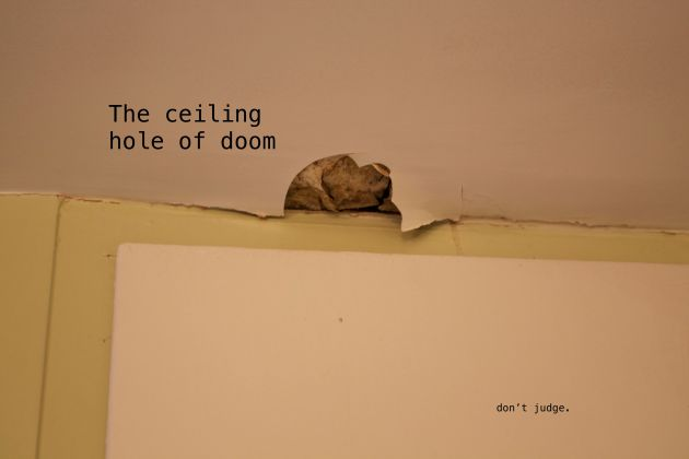 bathroom ceiling text